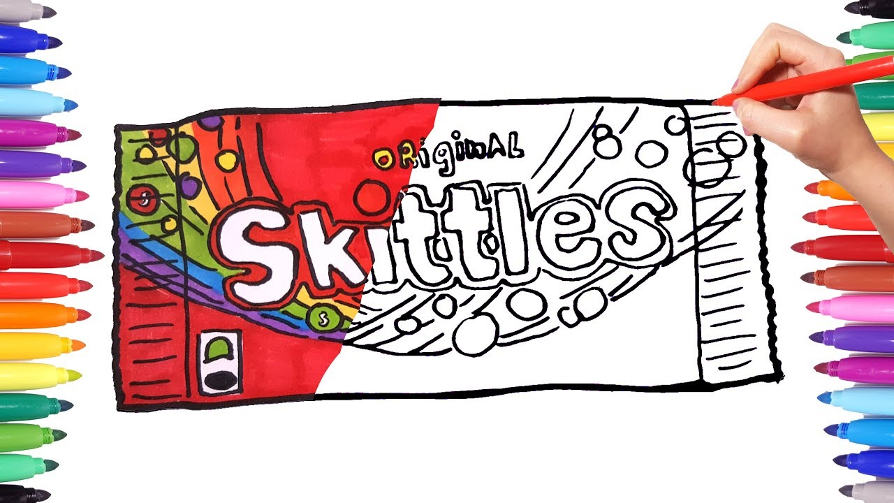vector black and white stock Skittles drawing. And coloring candy pack
