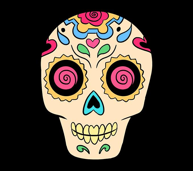 freeuse Easy Sugar Skull Drawing at GetDrawings