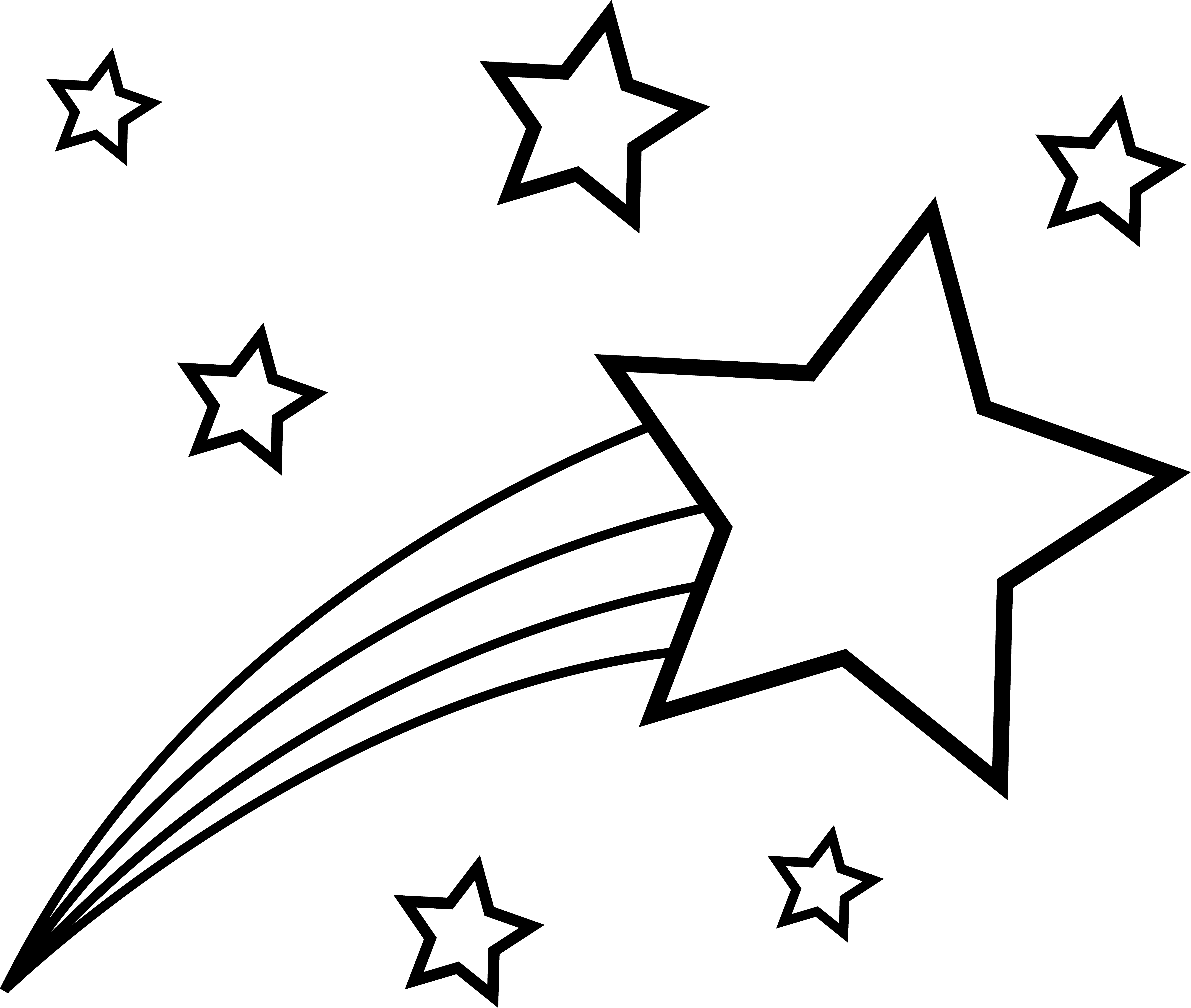 clipart black and white download Shooting star outline to. Sun moon stars clipart black and white
