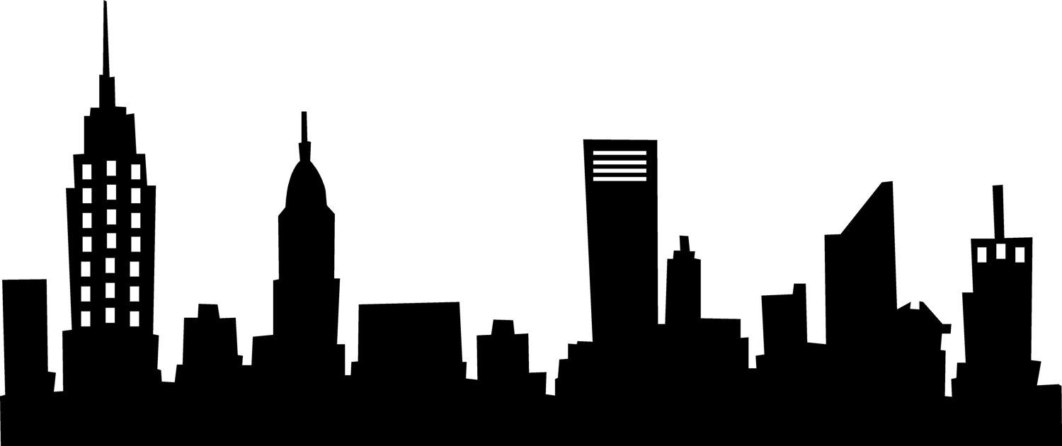black and white stock New york wall saying. Skyline clipart.