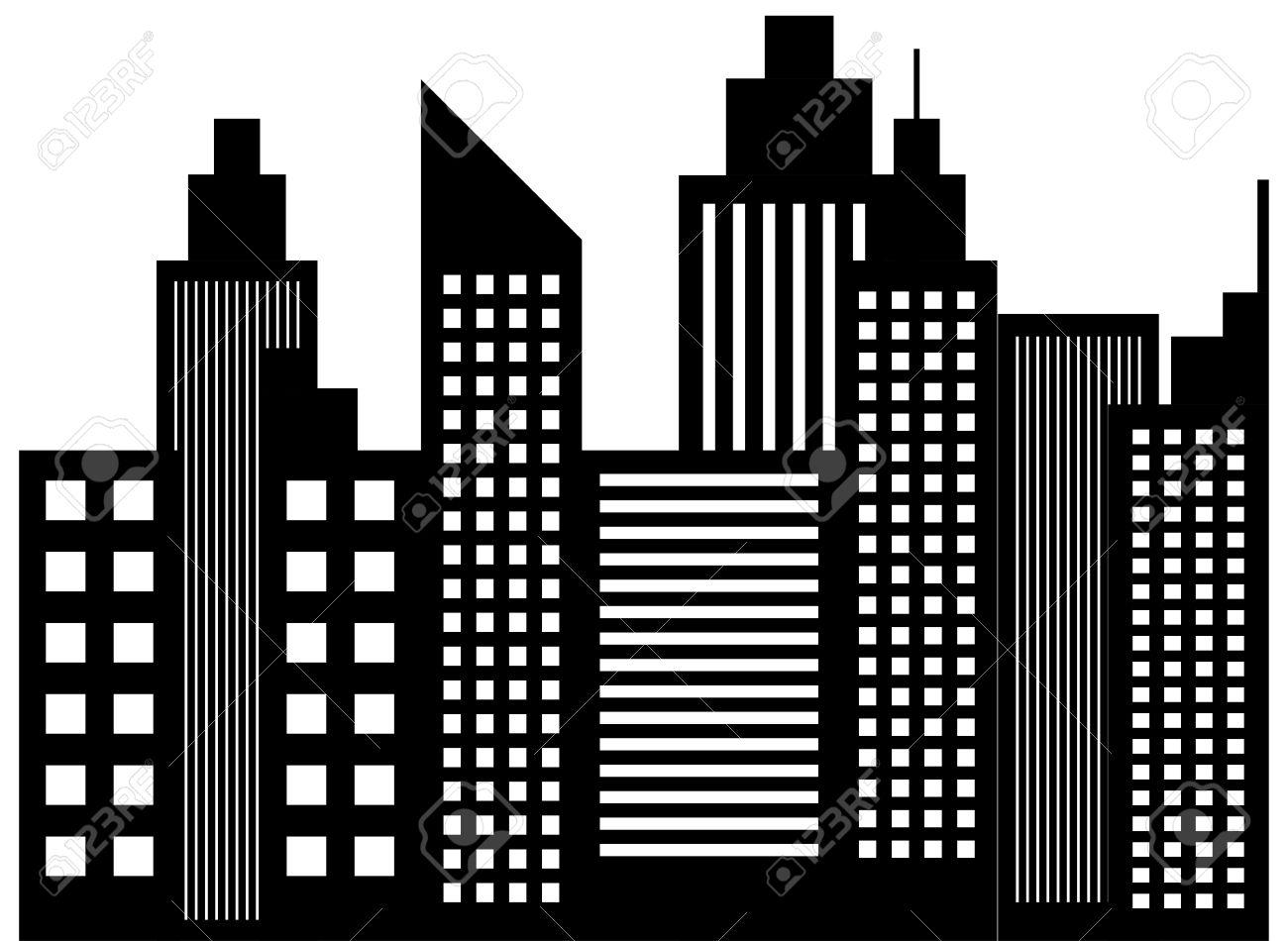 picture stock Skyscraper clipart. Black and white station.