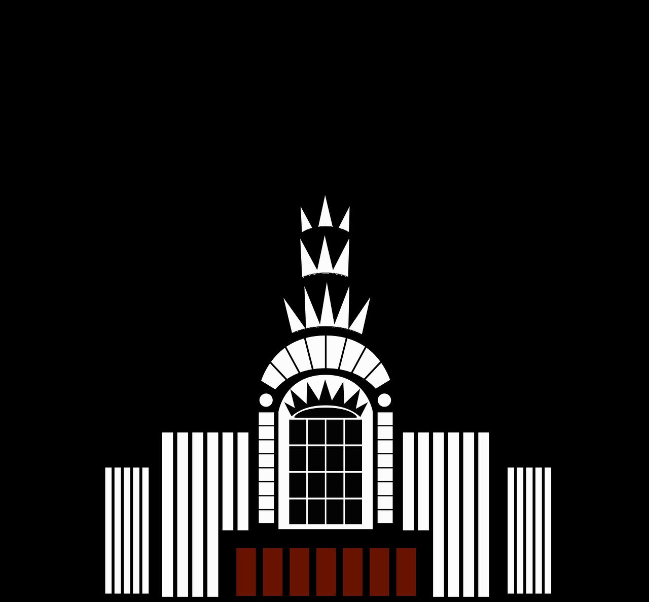 png black and white Skyscraper clipart. Vintage clip art building.