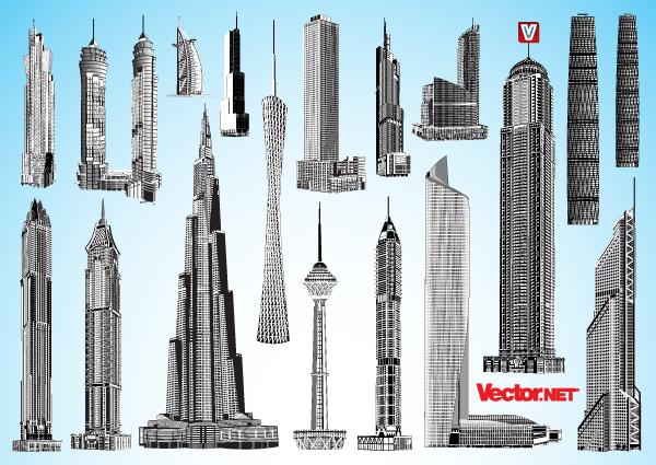 vector freeuse stock Skyscraper vector. Vectors architecture highrise dubai.