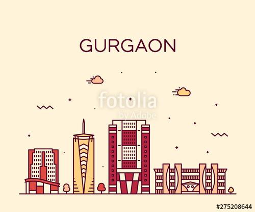 png library library Skyline haryana india linear. Urban vector city gurgaon
