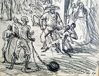 clip art royalty free library A of slave auction. Slavery drawing pencil