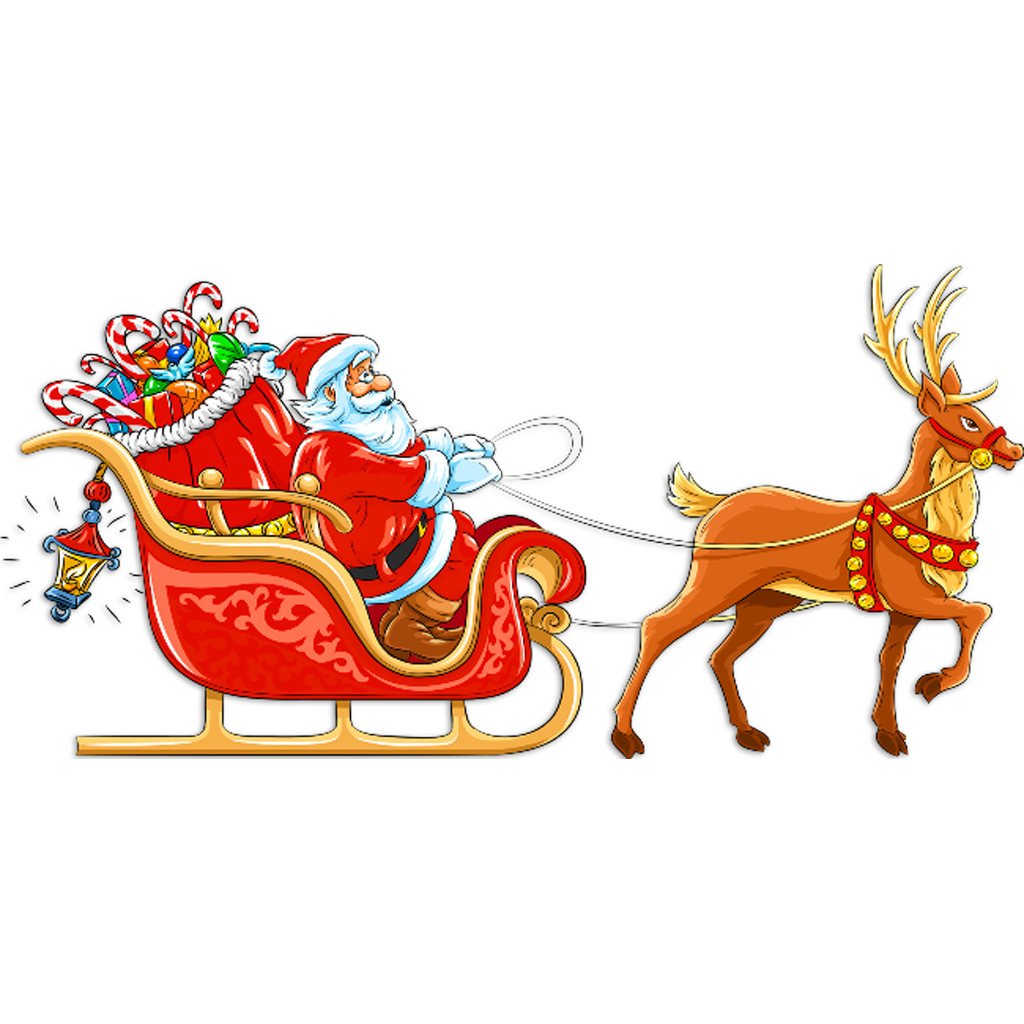 clipart transparent Santa in sleigh for cut out garland
