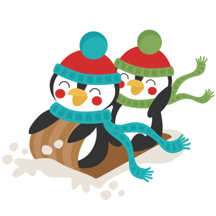 clipart royalty free Penguins Sledding Winter SVG scrapbook cut file cute clipart files