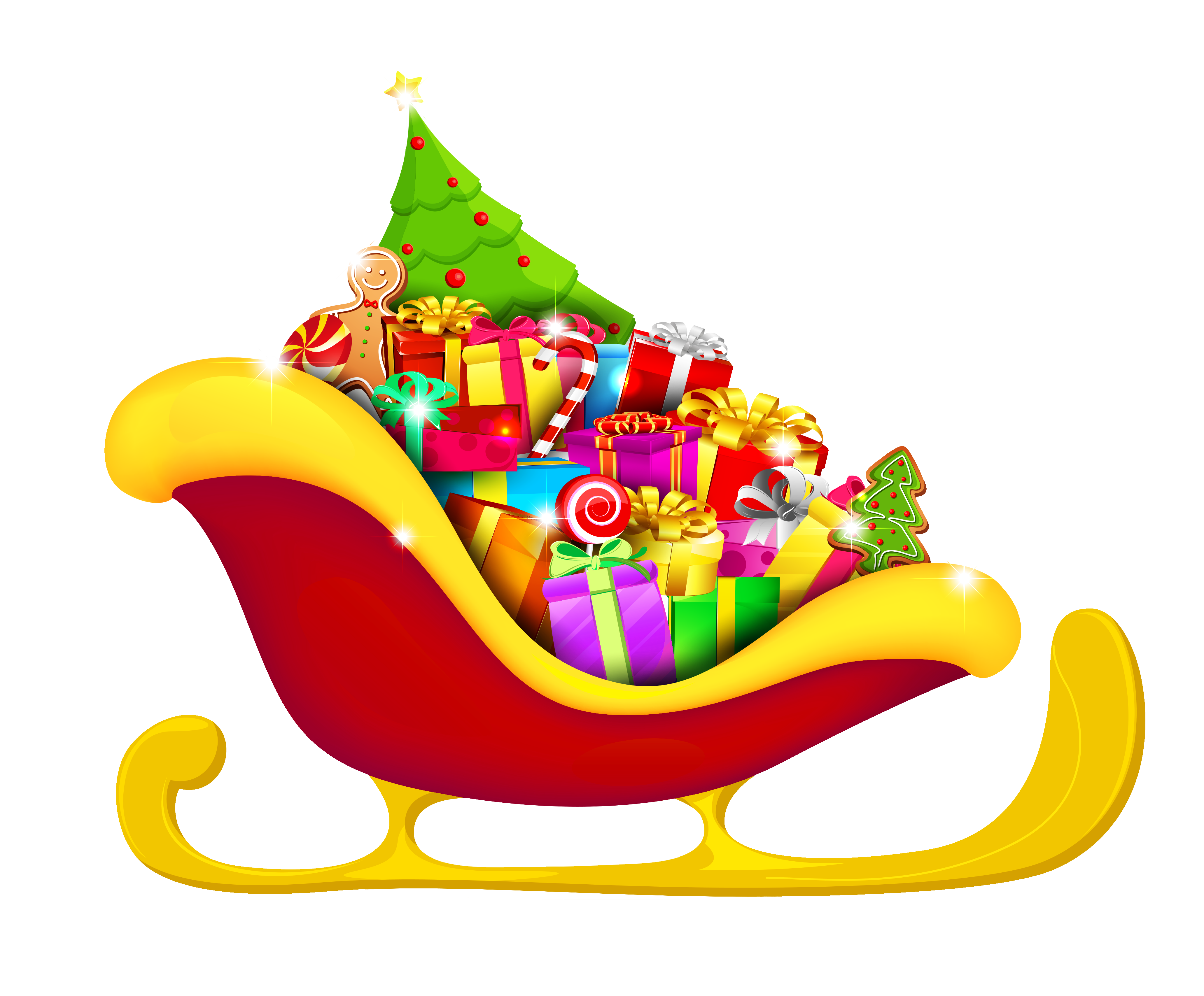 clipart transparent library Christmas Red Sled with Presents PNG Picture