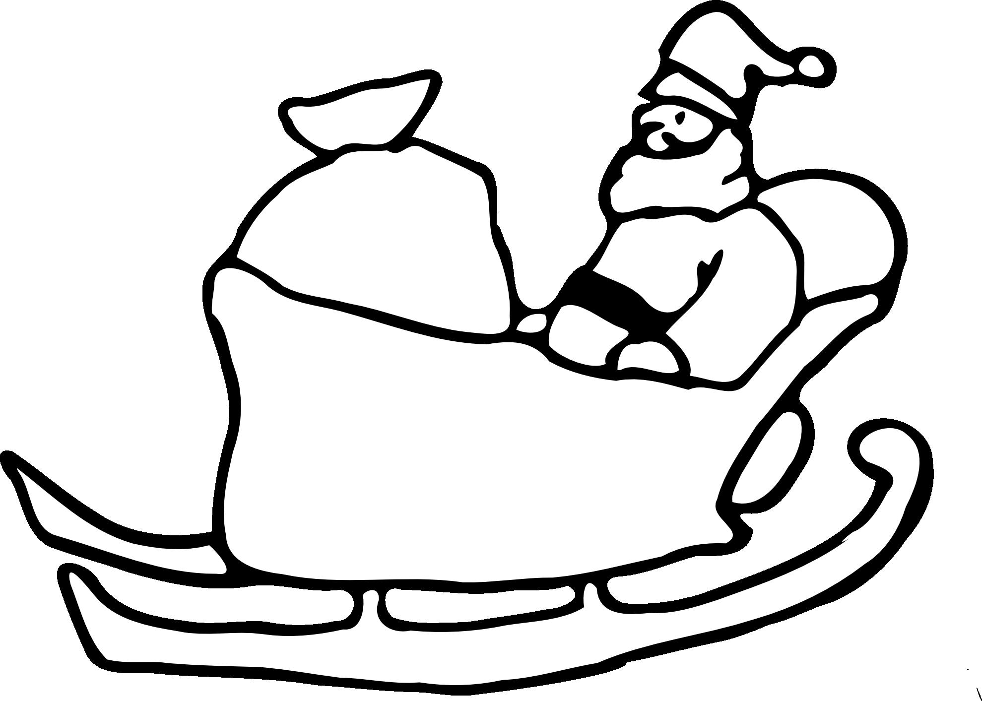 clipart black and white library Santa Sled Drawing at GetDrawings