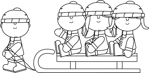 clip black and white stock Black and White Kids on a Sled Clip Art