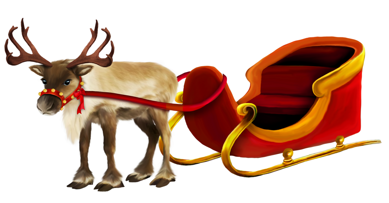 jpg transparent stock Christmas Reindeer and Sleigh png Picture