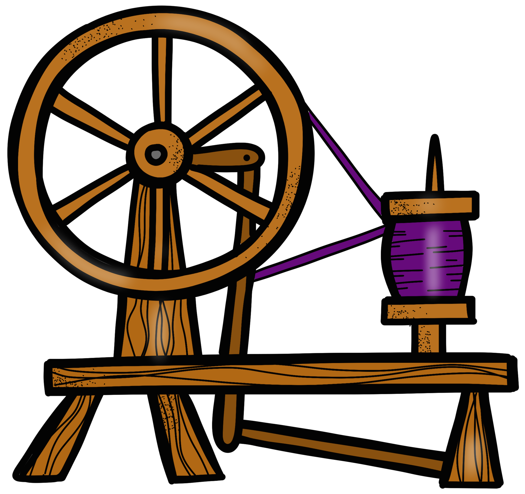 svg freeuse stock Sleeping beauty spindle clip. Spinning wheel clipart.