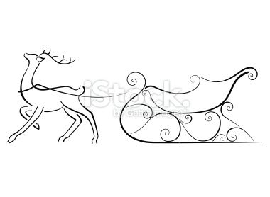 clipart Minimal image of a Reindeer and Sleigh