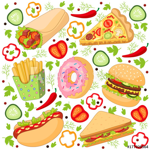 banner transparent Slice clipart fry. Vector burger pizza roll
