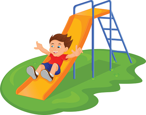 vector free library Slide clipart. Park playground pencil and.