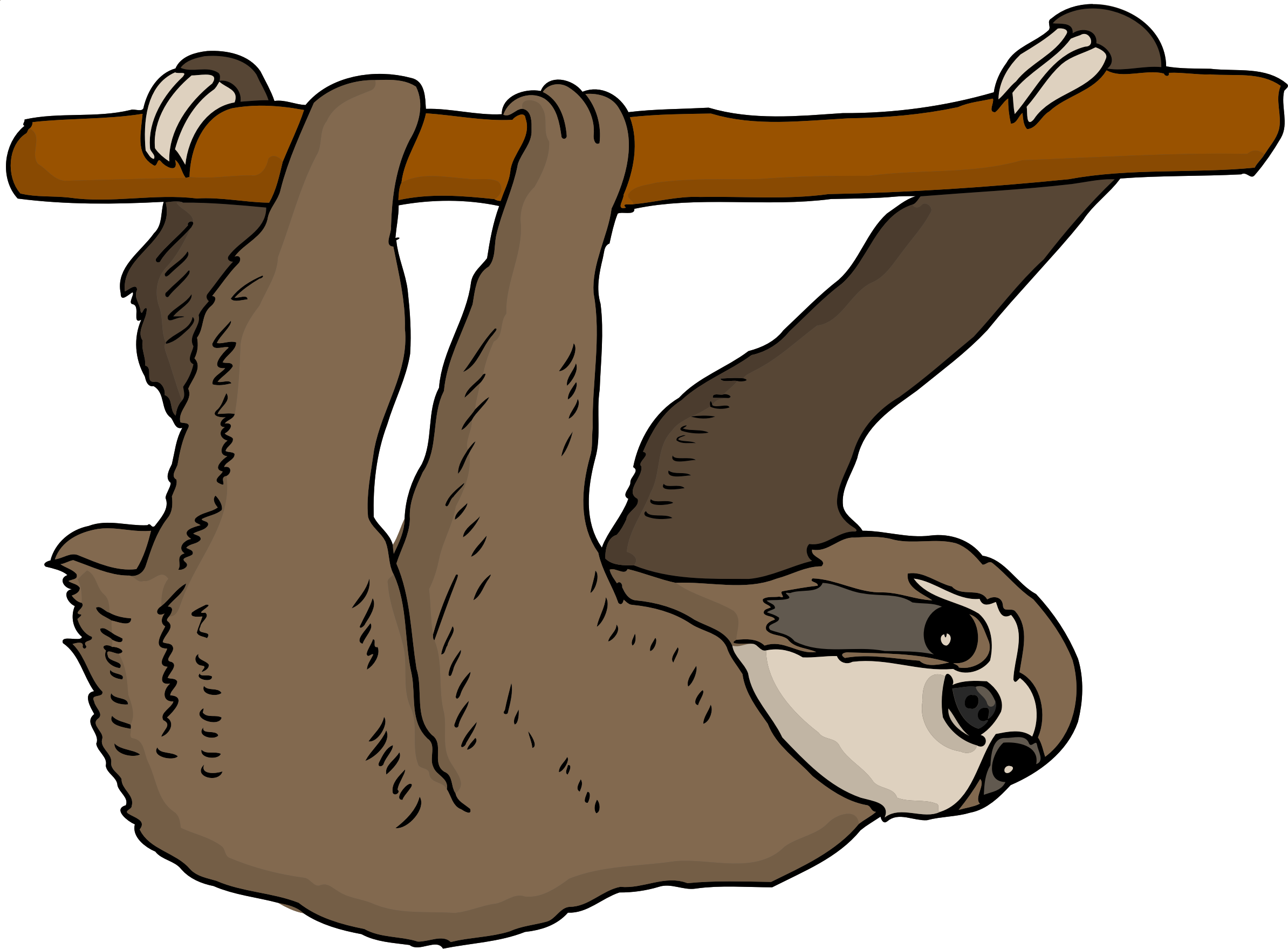 svg black and white Big image png. Sloth clipart.
