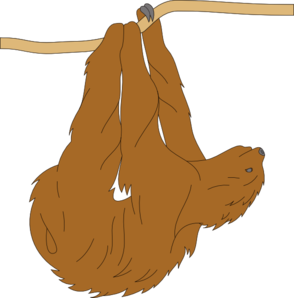 graphic Hanging Sloth Clip Art at Clker