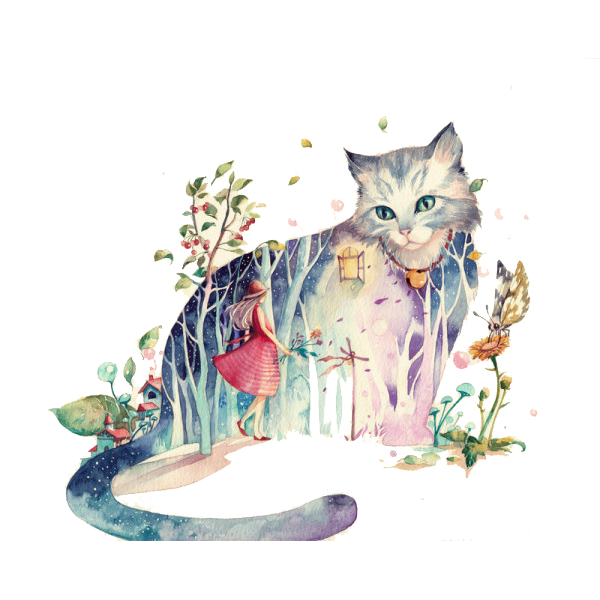 graphic free Cat Drawing Watercolor painting