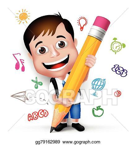 clip freeuse Smart kid clipart. Vector illustration d school
