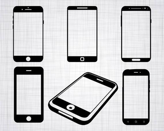 jpg black and white download Svg bundle cut files. Smartphone clipart.