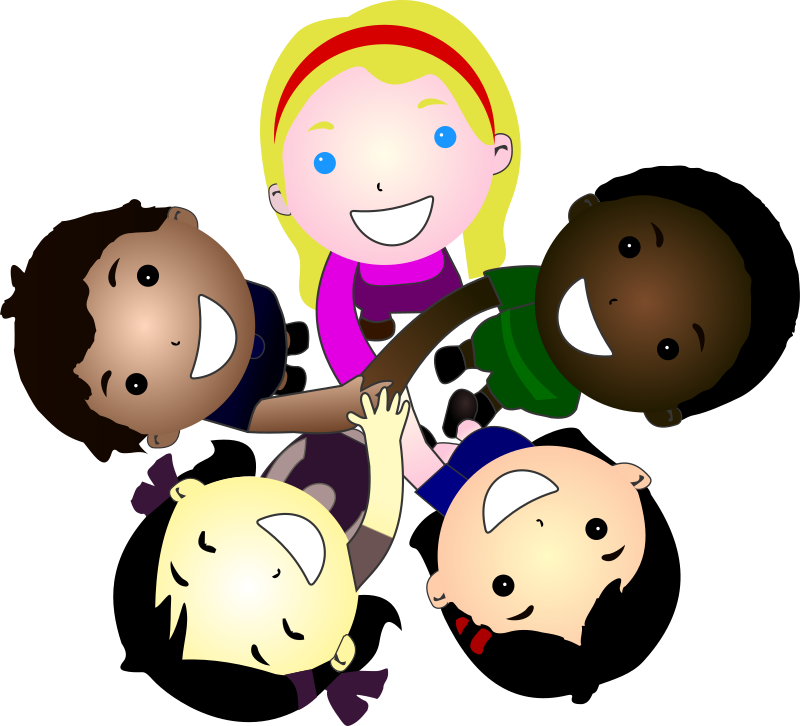 vector black and white stock Five kids together medium. Smiling clipart.