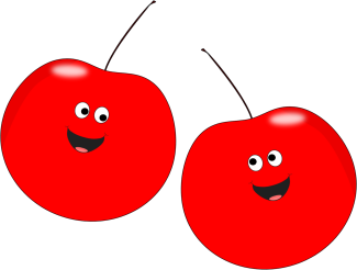 png freeuse Smiling clipart red. Two cherries clip art