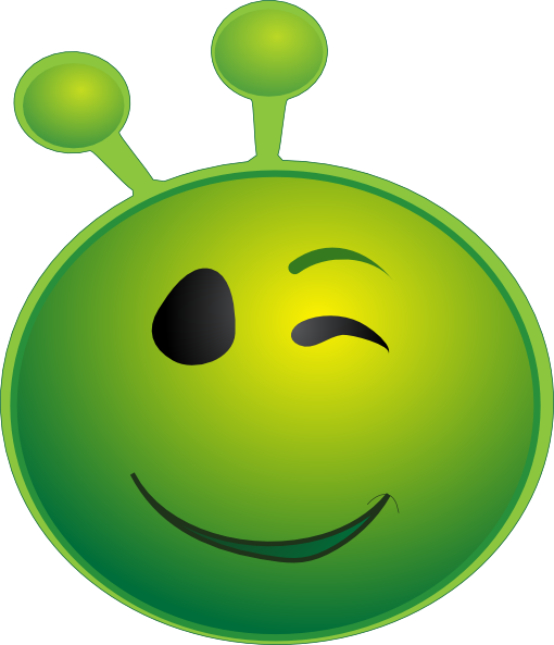 clipart royalty free download Green alien winking clip. Smiling clipart smile emoji