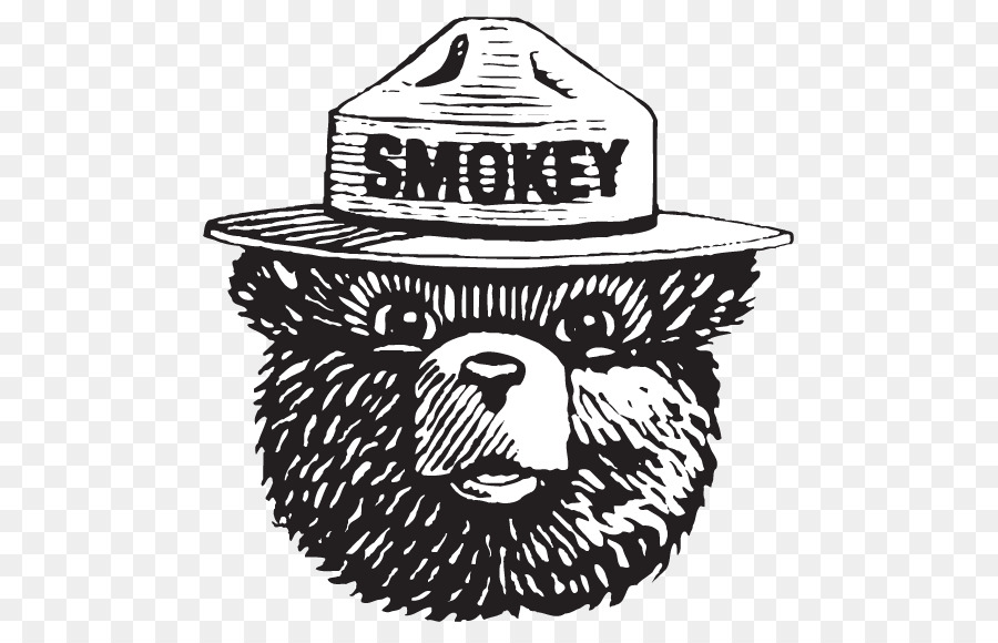 black and white library Smokey the bear clipart. Firefighter logo hat transparent