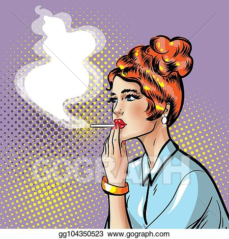 png stock Vector fashionable pin up. Smoking clipart cigerette
