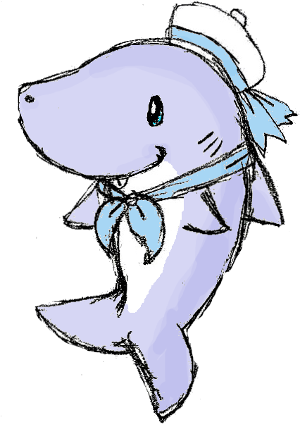 vector black and white library Drawing sharks cute. Baby shark adoptable by