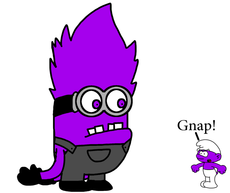 image freeuse library Smurfs drawing minion. Evil meets purple smurf