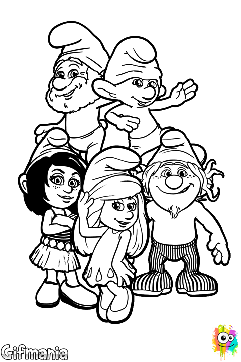 vector transparent Coloring the main characters of the movie The Smurfs