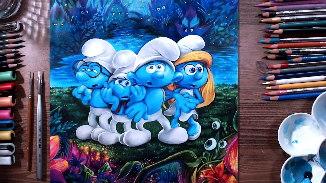 download smurfs drawing painting #140340693