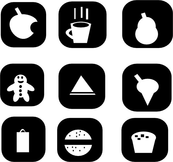 jpg black and white library Snack Icons Clip Art at Clker