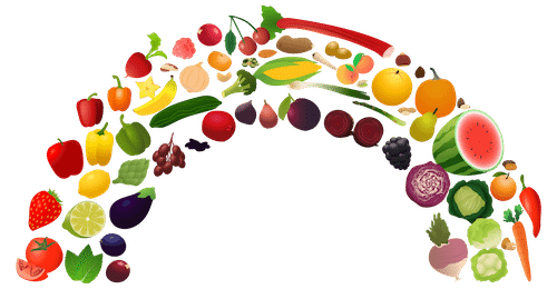 banner black and white stock Rainbow fruit and activity. Snack clipart vegetable plate