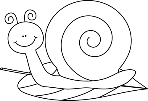 vector library stock Black and White Snail on a Leaf Clip Art