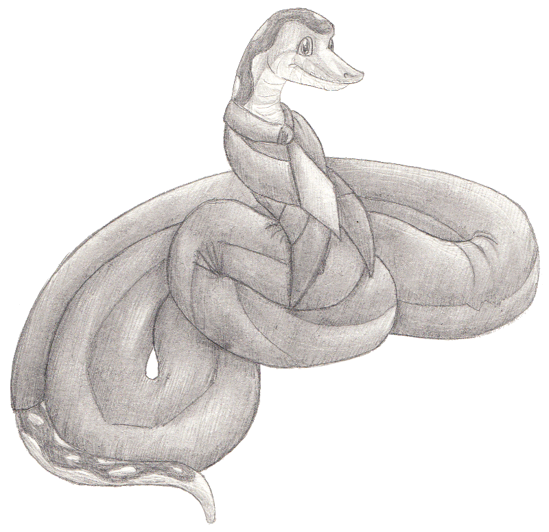 picture transparent library Drawing snake animal. In a suit by