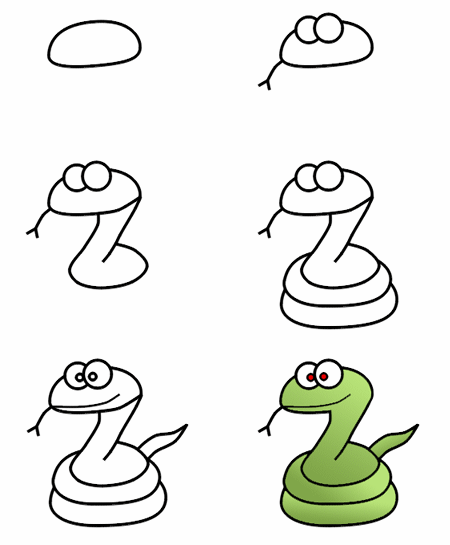 jpg library Drawing snake step by. Cartoon snakes