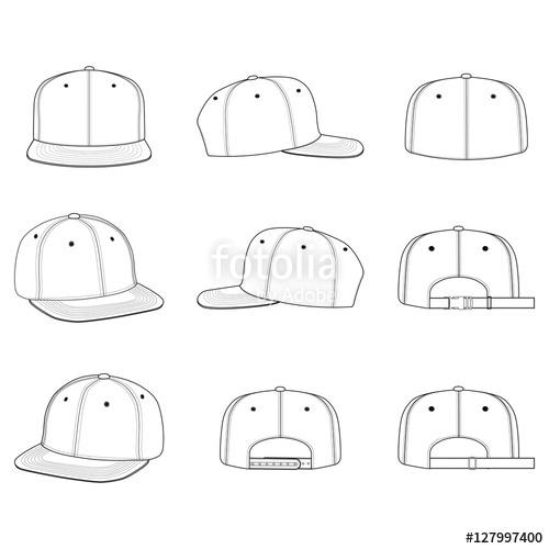 svg freeuse Cap fashion flat technical. Snapback vector
