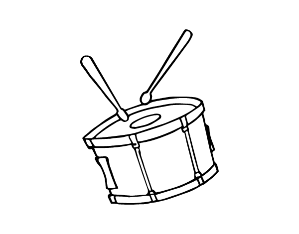clip art black and white library Snare drum coloring page