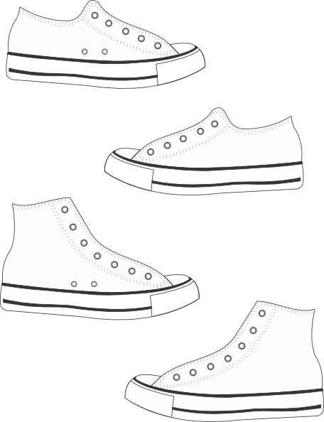 clipart black and white download painting of high top tennis shoe
