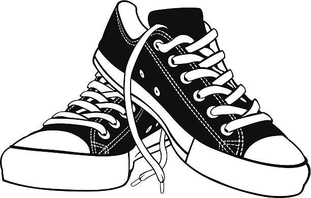 graphic library stock Shoe pair pencil and. Sneakers clipart shoose