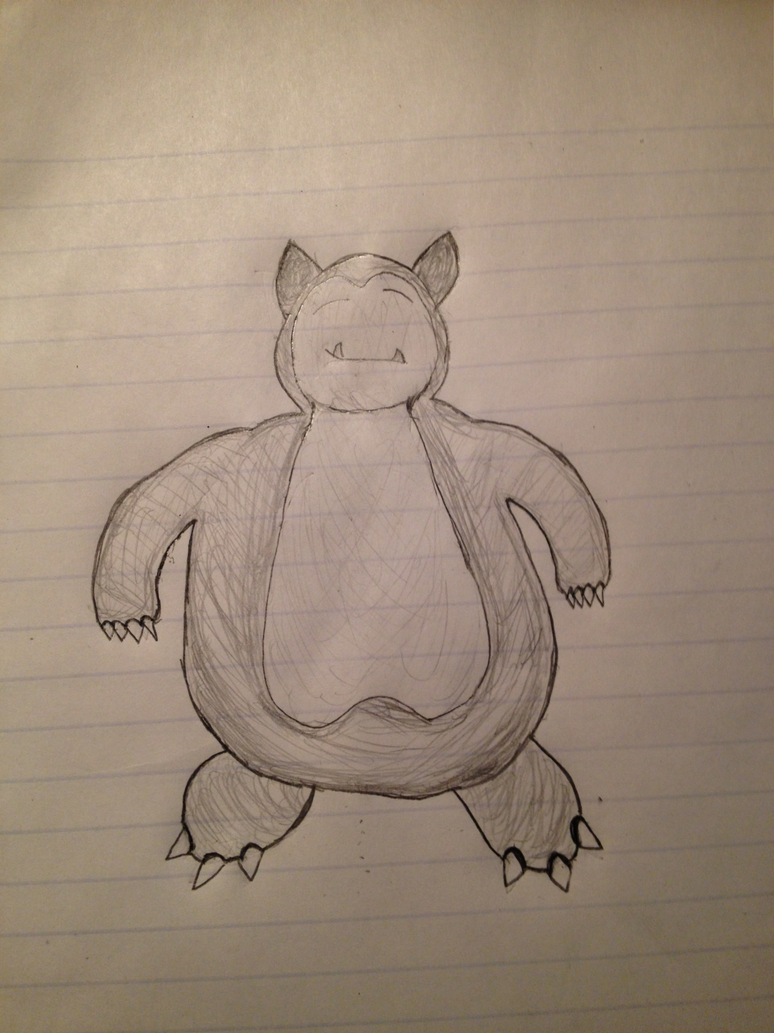 picture library Snorlax Drawing by NintendoStarburst on DeviantArt