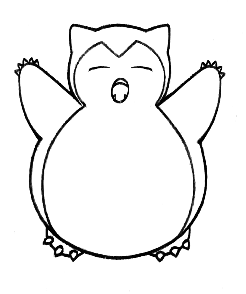 png black and white snorlax drawing #87778870