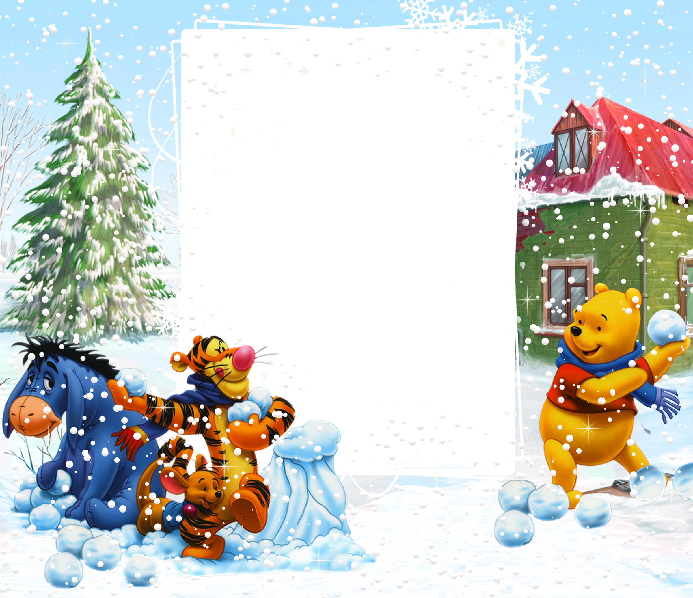 clipart freeuse download Snow borders clipart. Winnie the pooh winter.