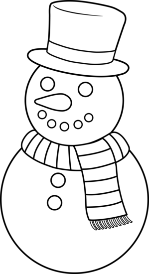 clip freeuse download Colorable Christmas Snowman