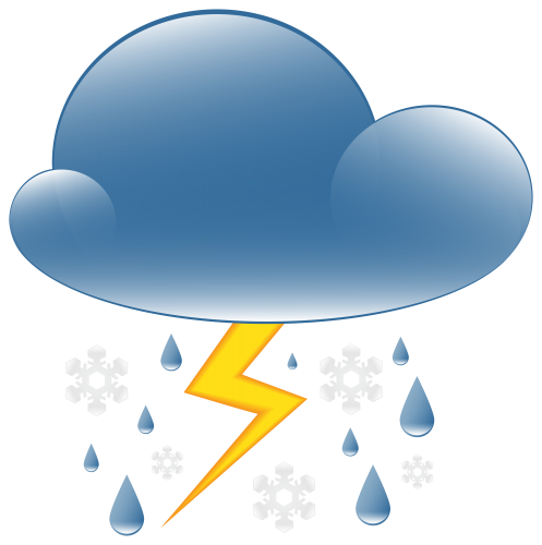 clip black and white library Rain and snow weather. Clipart thunder.