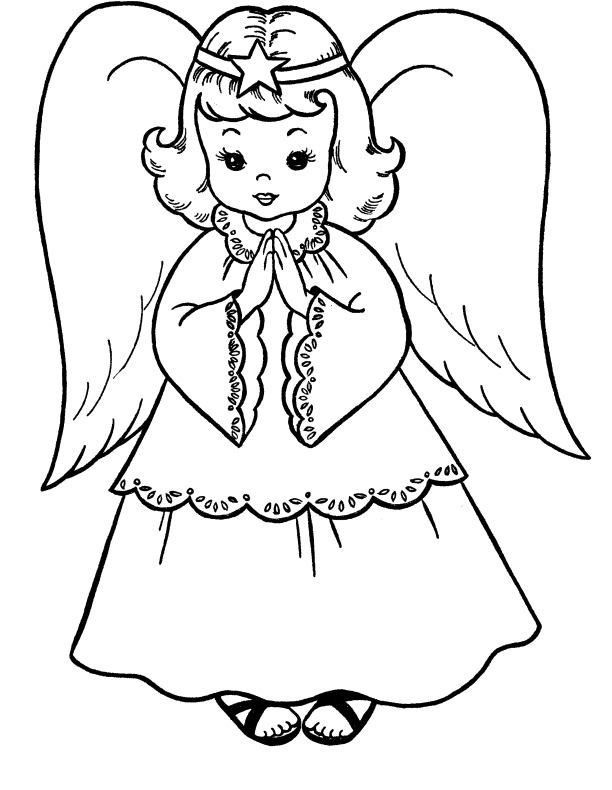 clip black and white stock Pictures Christmas Angel Coloring For Kids