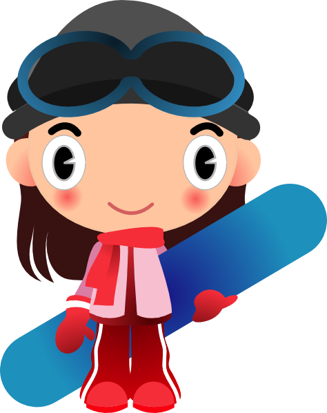 clip freeuse Girl With Snowboard Clip Art at Clker