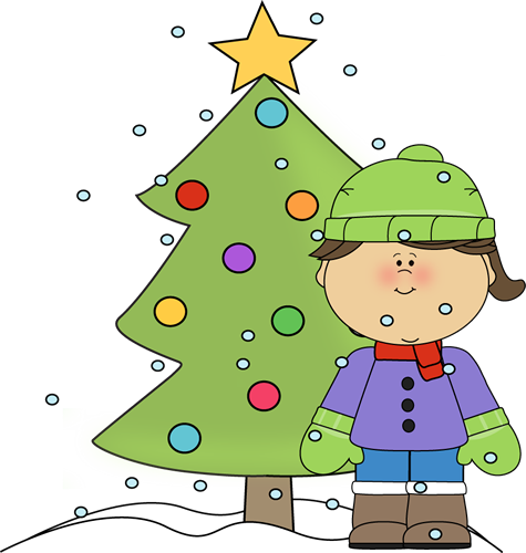 clipart download Snowing clipart tree. Little girl with christmas.